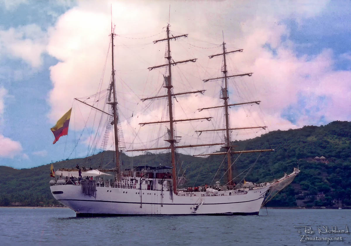 "Tall Ship ""Guayas"" at anchor in Zihuatanejo Bay"