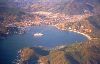 Aerial view of Zihuatanejo and its bay.